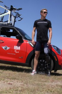 Image of Athlete Michael Johnston and Mini Cooper :as part of Mini USA's Support of the U.S. Paralympic Team