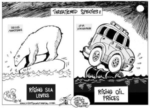 Cartoon of SUVs and the Effects on the Environment