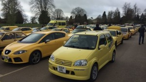 yellow cars in cotswold village