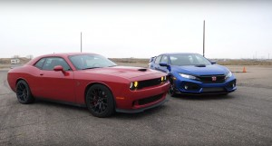 dodge challenger hellcat vs honda civic type r